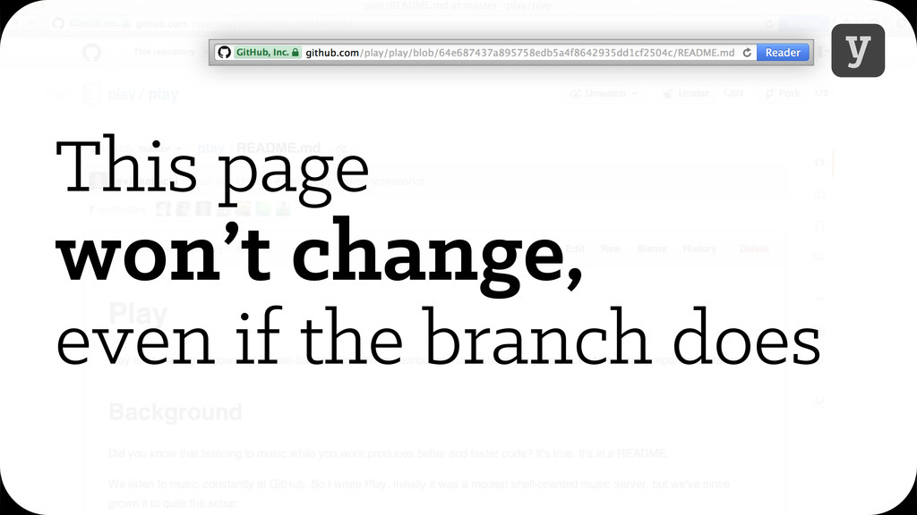 y This page won't change, even if the branch do...