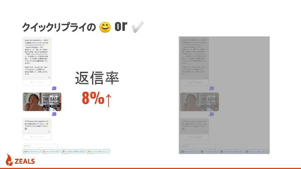 クイックリプライの  or ✅ 返信率 8%↑