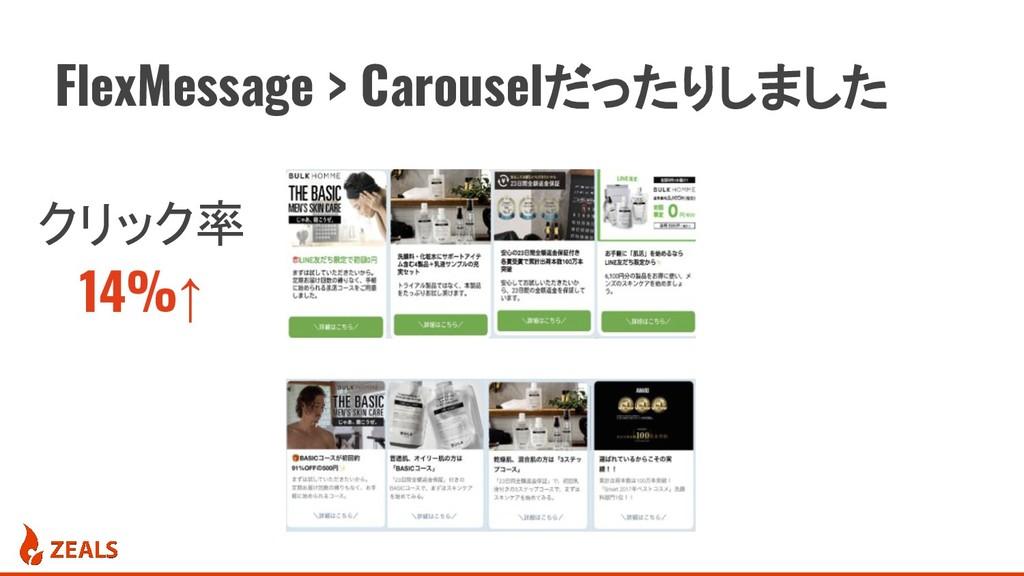 FlexMessage > Carouselだったりしました クリック率 14%↑