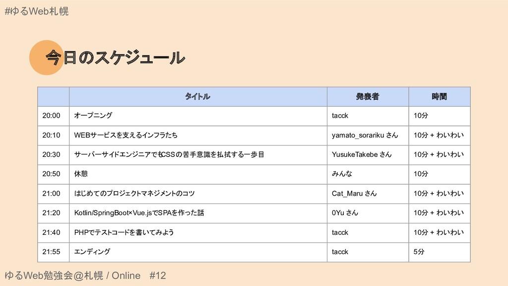 ゆるWeb勉強会@札幌 / Online #12 #ゆるWeb札幌 今日のスケジュール タイト...