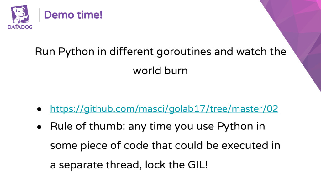 Demo time! Run Python in different goroutines a...