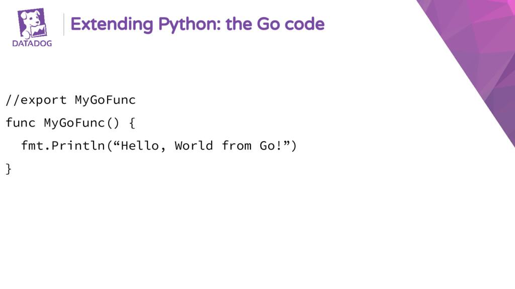 Extending Python: the Go code //export MyGoFunc...