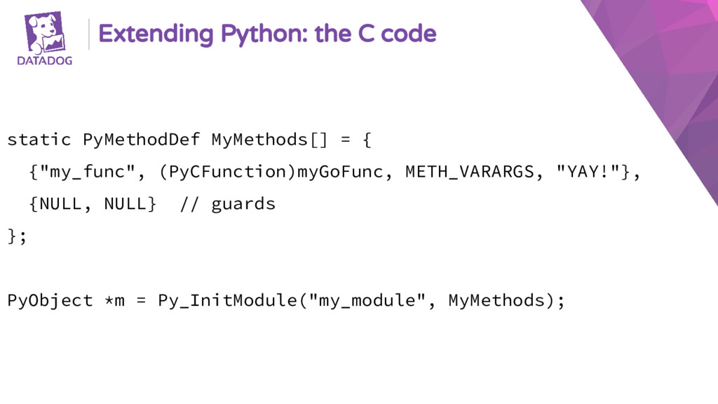 Extending Python: the C code static PyMethodDef...