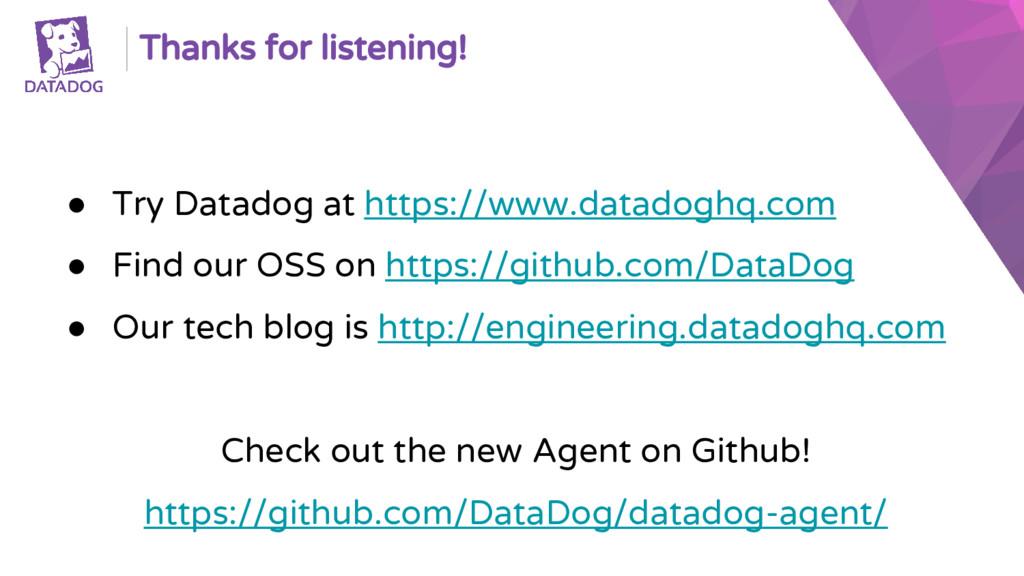 Thanks for listening! ● Try Datadog at https://...