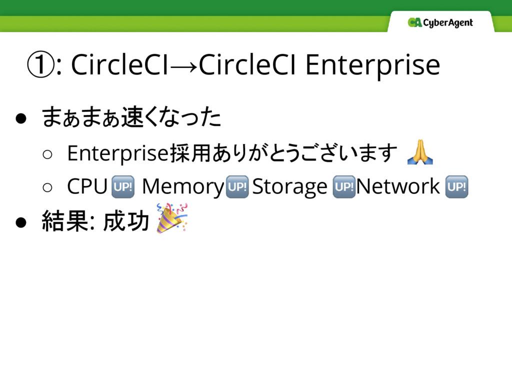 ①: CircleCI→CircleCI Enterprise ● まぁまぁ速くなった ○ E...