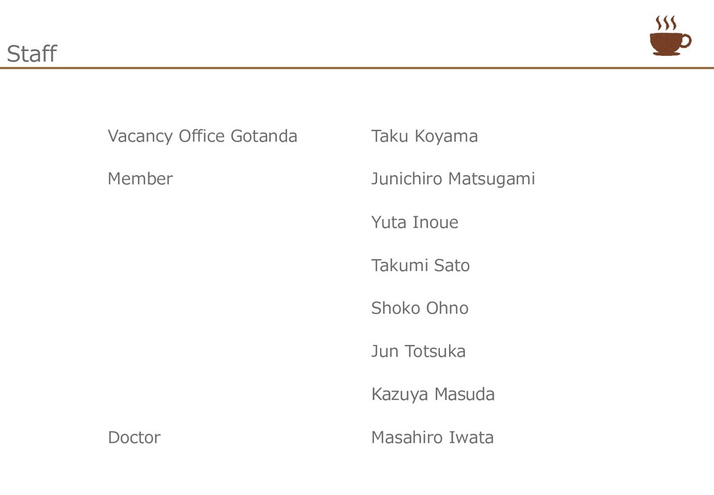 Staff Vacancy Office Gotanda Taku Koyama Member...
