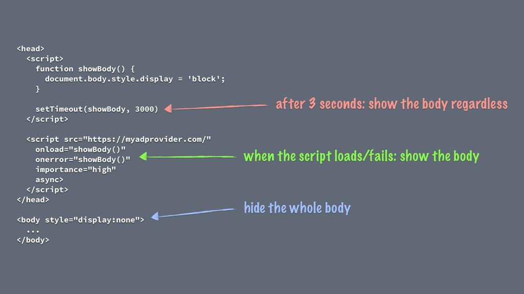 <head> <script> function showBody() { document....