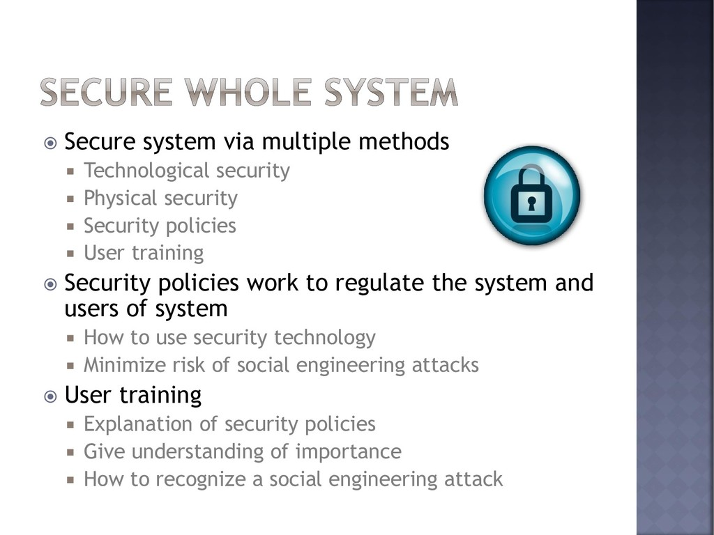  Secure system via multiple methods  Technolo...