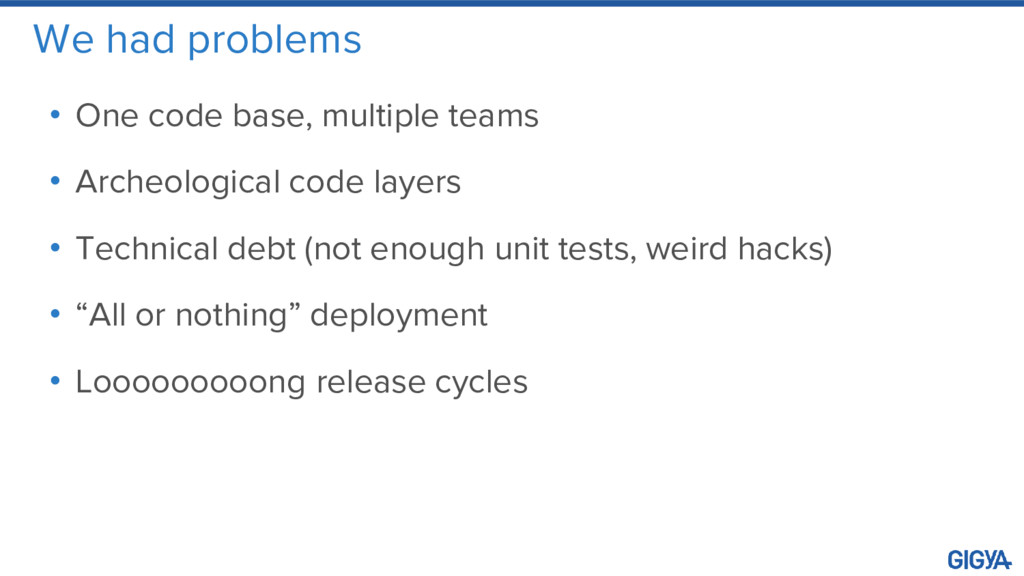 We had problems • One code base, multiple teams...