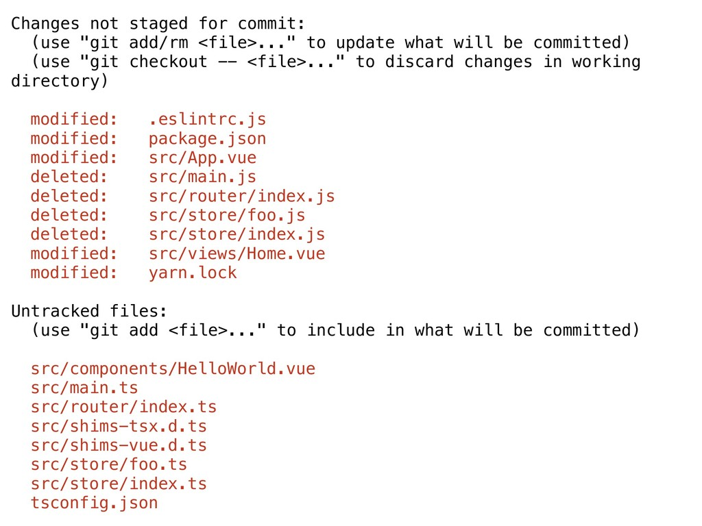 "Changes not staged for commit: (use ""git add/rm..."