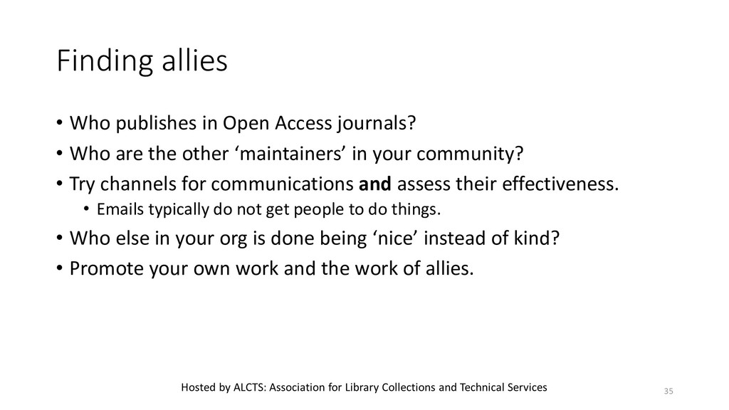 Finding allies • Who publishes in Open Access j...
