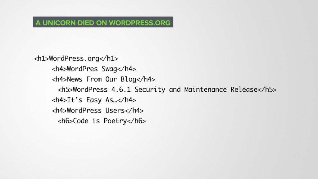 <h1>WordPress.org</h1> <h4>WordPres Swag</h4> <...