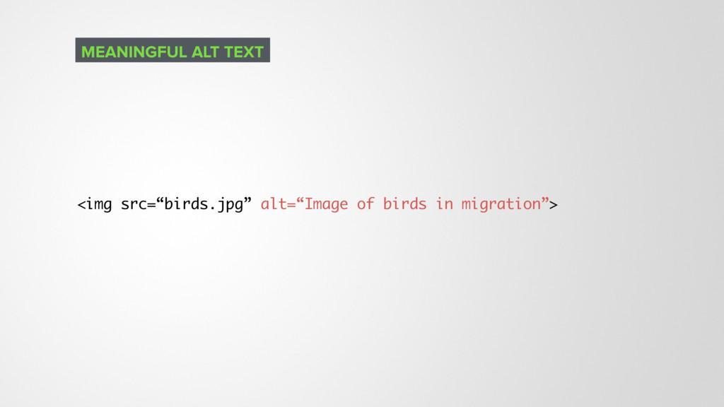 "<img src=""birds.jpg"" alt=""Image of birds in mig..."
