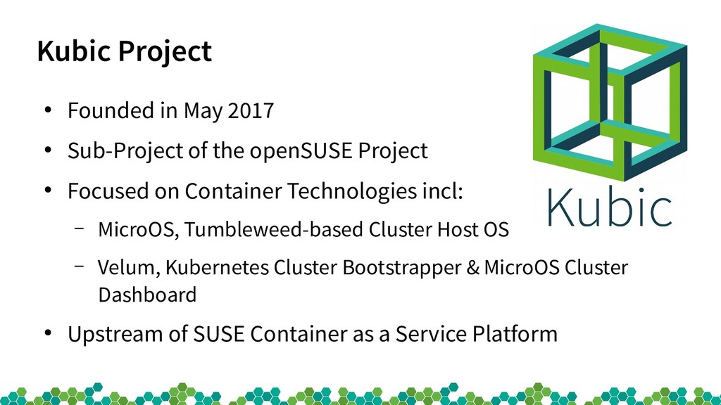Kubic Project ● Founded in May 2017 ● Sub-Proje...