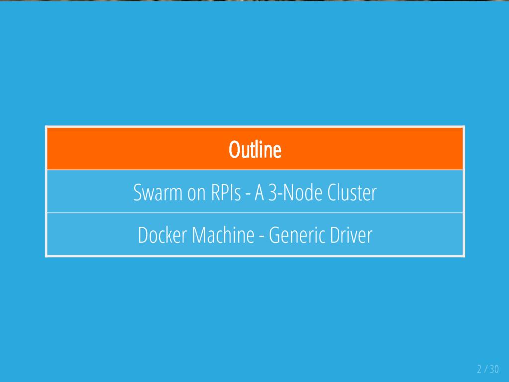 Outline Swarm on RPIs - A 3-Node Cluster Docker...