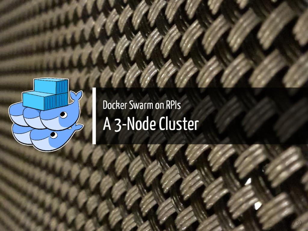 Docker Swarm on RPIs A 3-Node Cluster 3 / 30