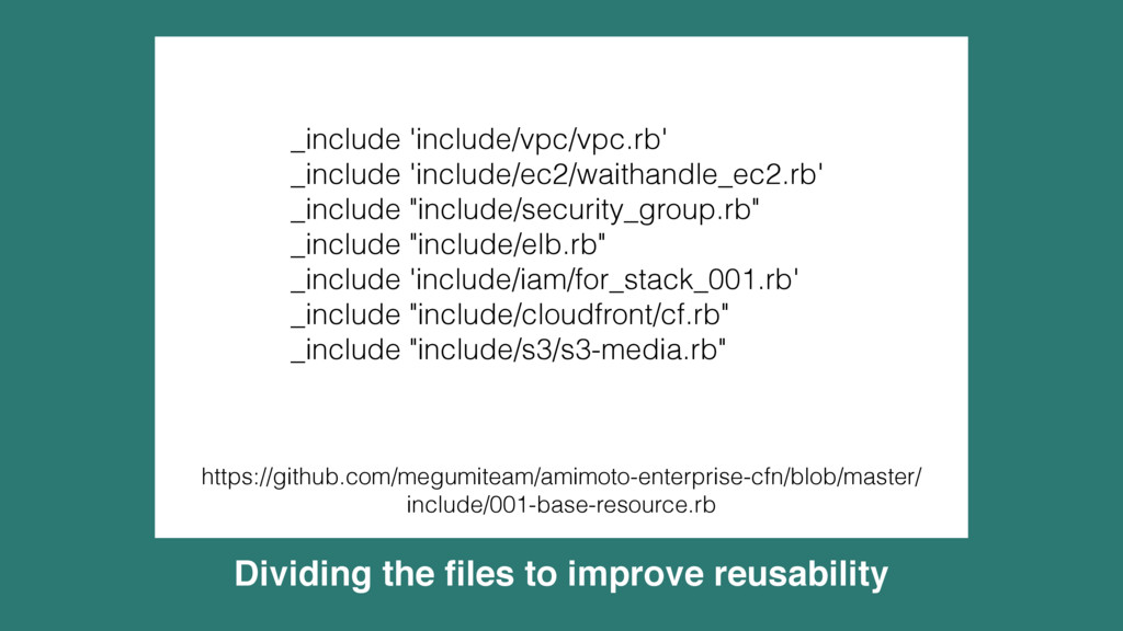 Dividing the files to improve reusability _inclu...
