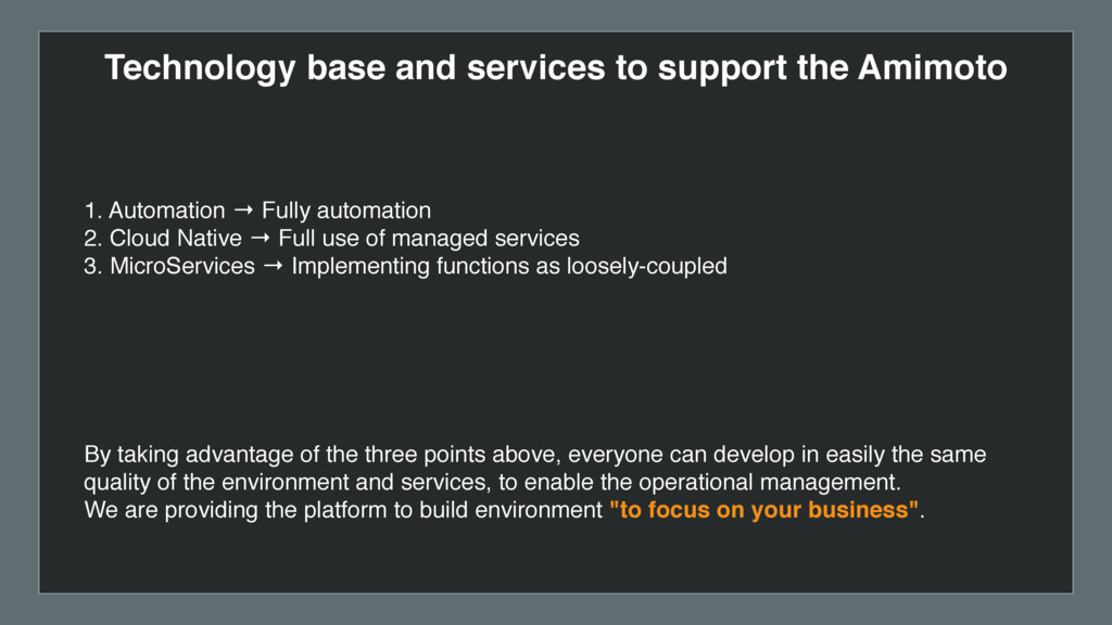 Technology base and services to support the Ami...