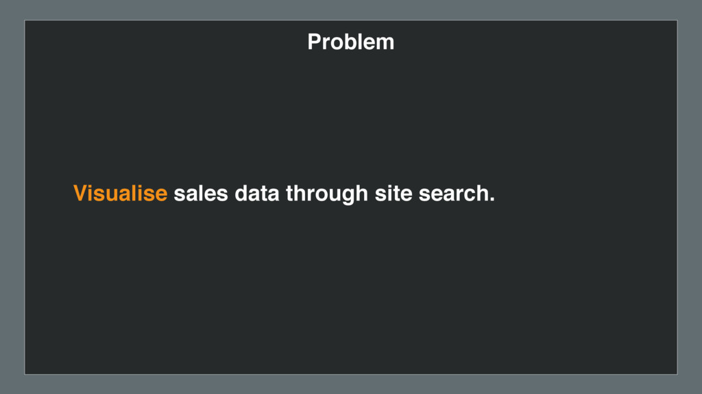 Problem Visualise sales data through site searc...