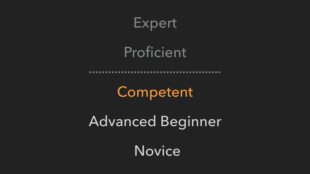 Expert Proficient Competent Advanced Beginner No...