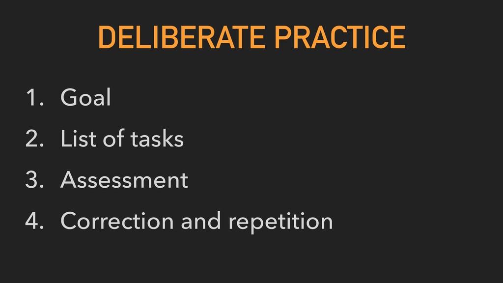 1. Goal 2. List of tasks 3. Assessment 4. Corre...
