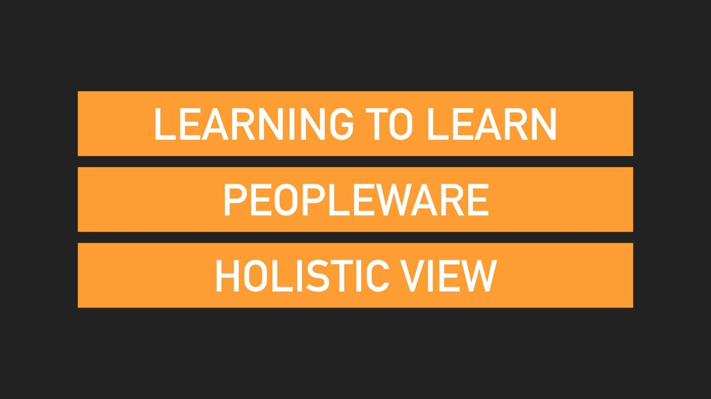 PEOPLEWARE HOLISTIC VIEW LEARNING TO LEARN