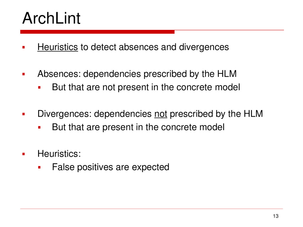 ArchLint  Heuristics to detect absences and di...