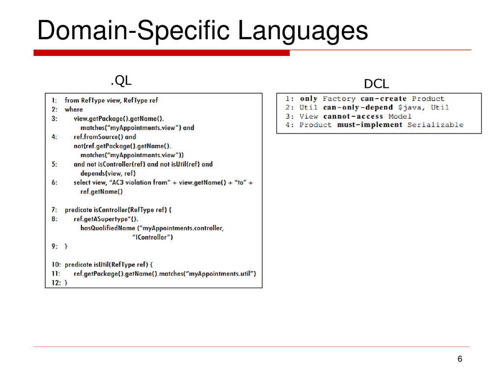 Domain-Specific Languages 6 .QL DCL