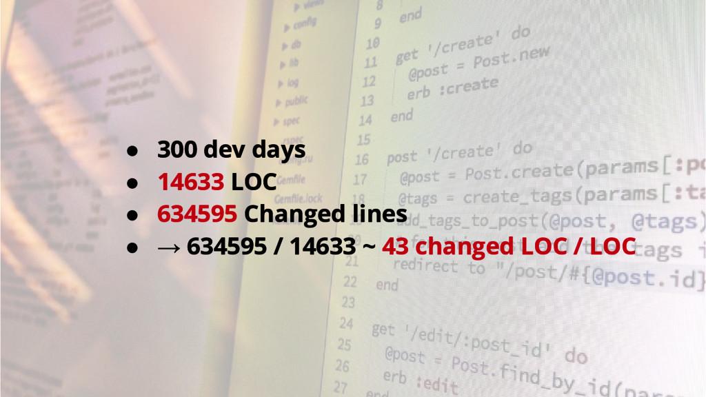 ● 300 dev days ● 14633 LOC ● 634595 Changed lin...