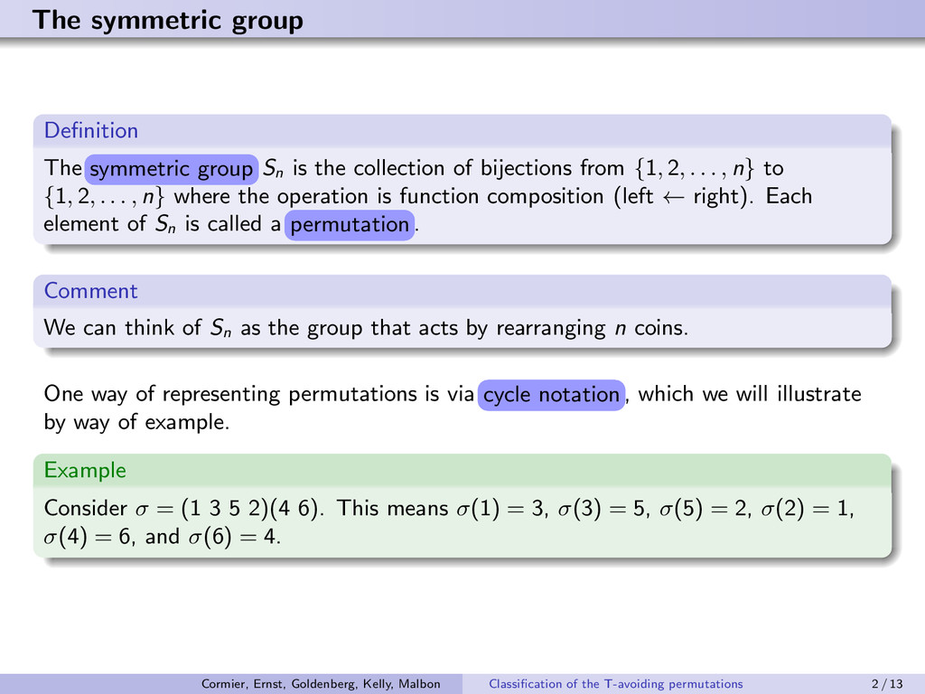 The symmetric group Definition The s©¢¢¤r£ er¡...