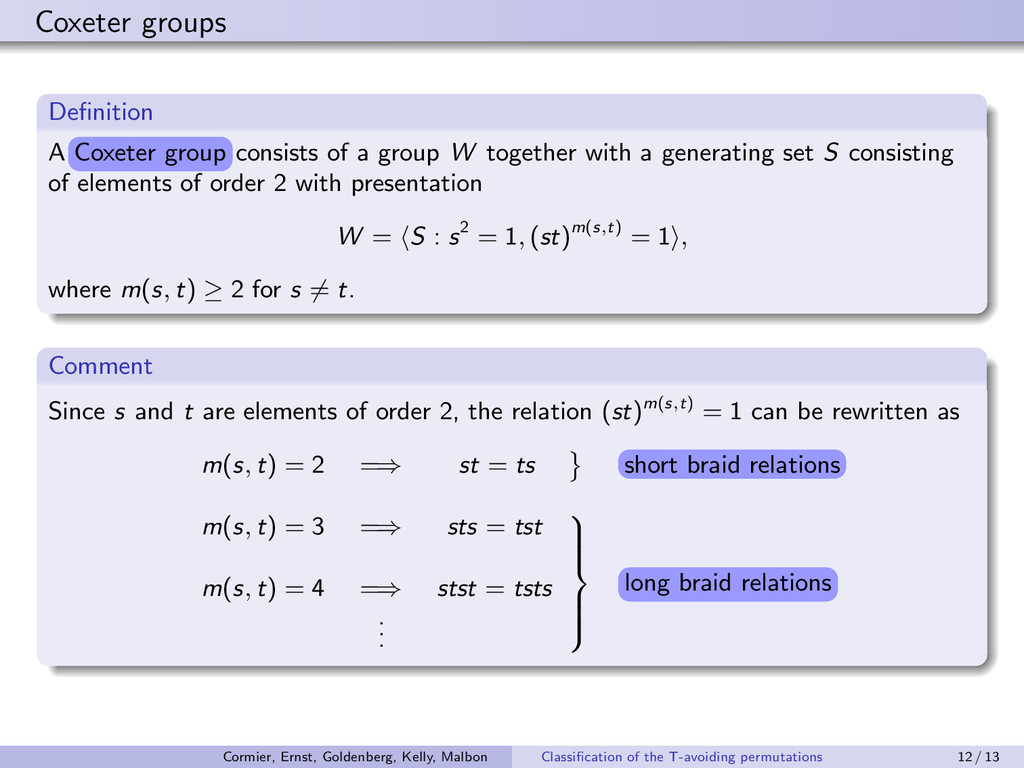 Coxeter groups Definition A g¡x¤¤r er¡g g¡x¤¤...