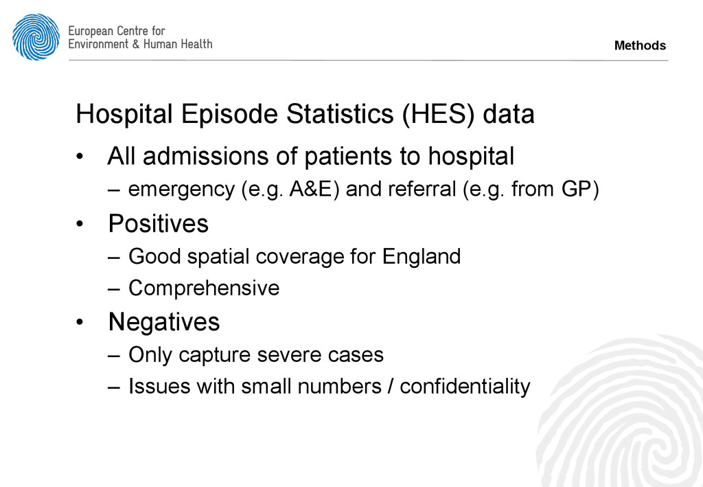 Methods Hospital Episode Statistics (HES) data ...