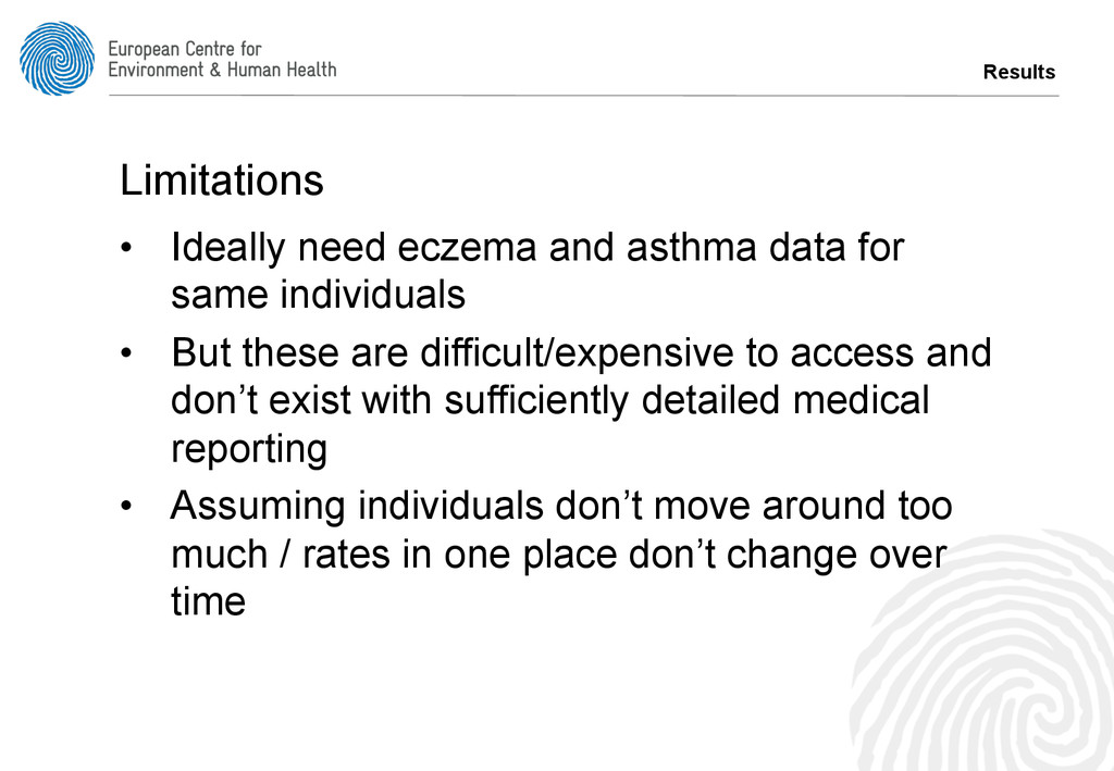 Results Limitations • Ideally need eczema and ...