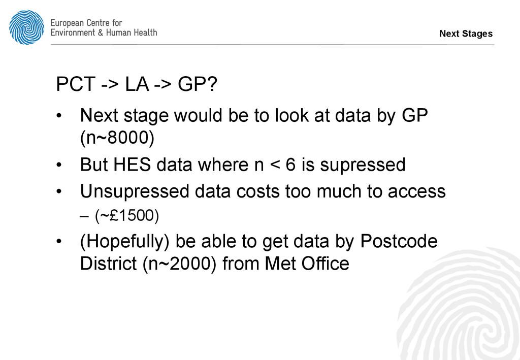Next Stages PCT -> LA -> GP? • Next stage woul...