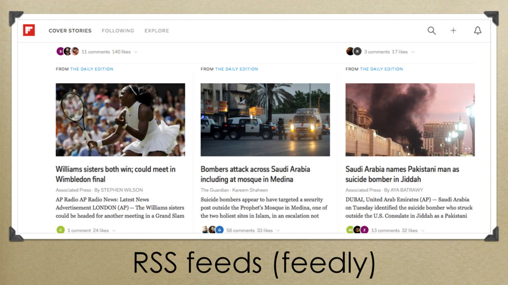 RSS feeds (feedly)