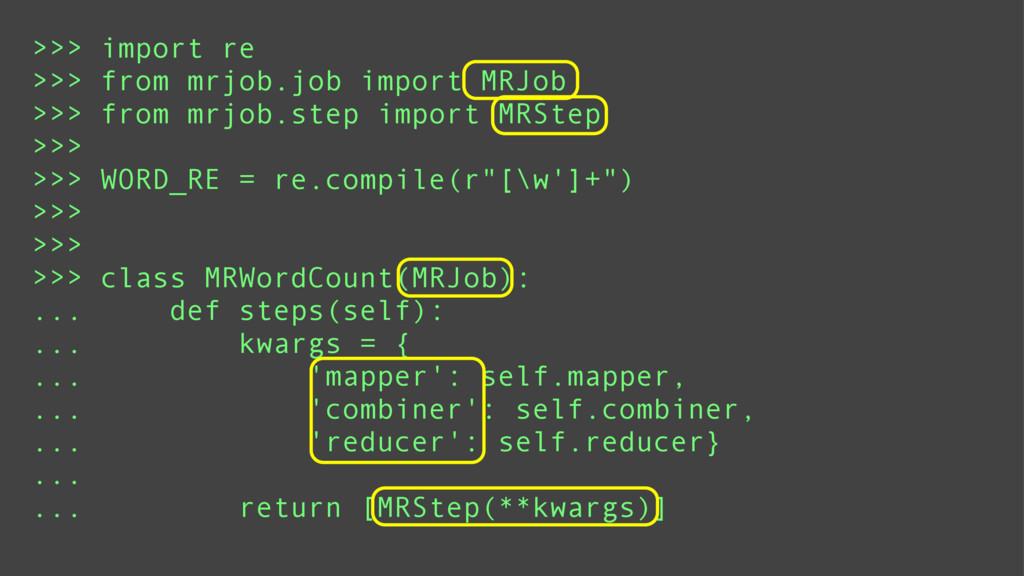 >>> import re >>> from mrjob.job import MRJob >...