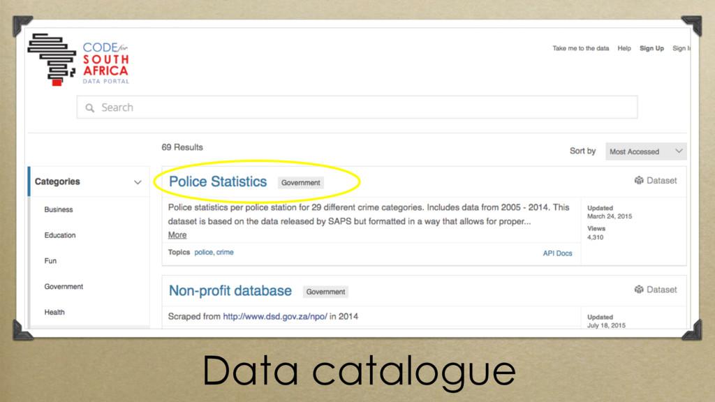 Data catalogue