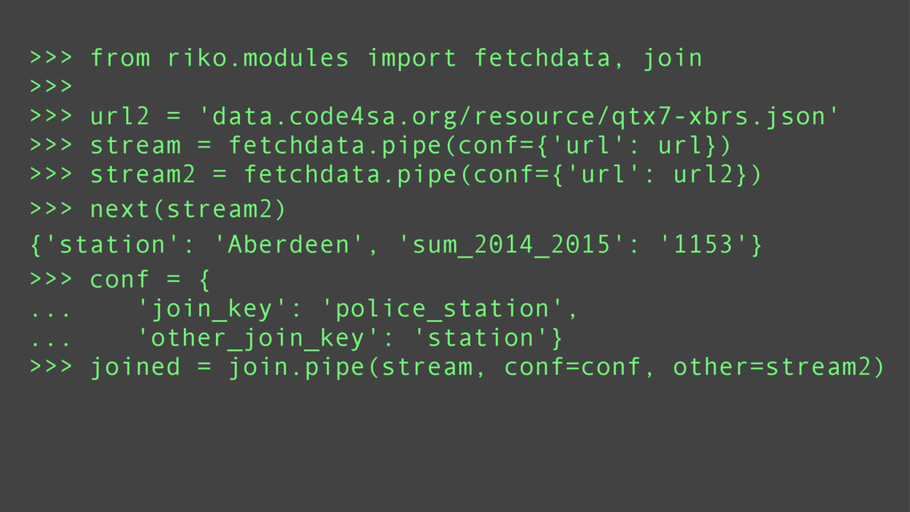 >>> from riko.modules import fetchdata, join >>...