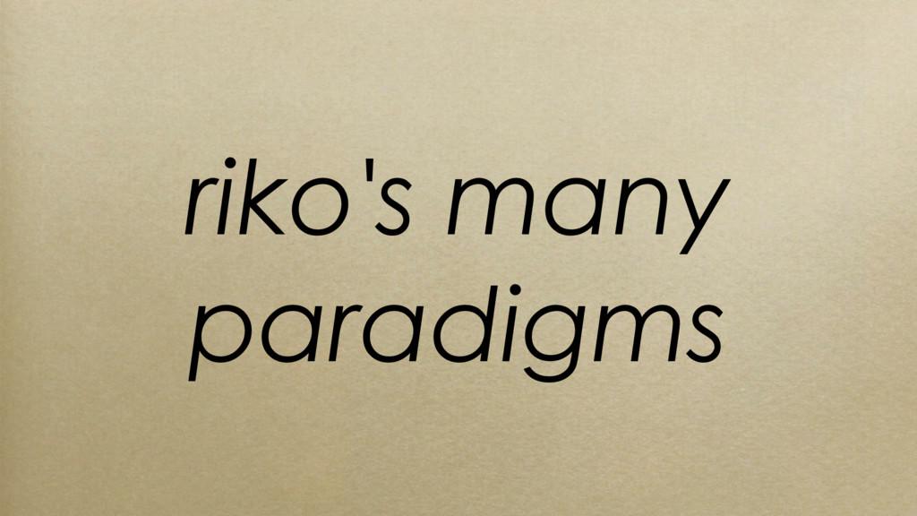 riko's many paradigms