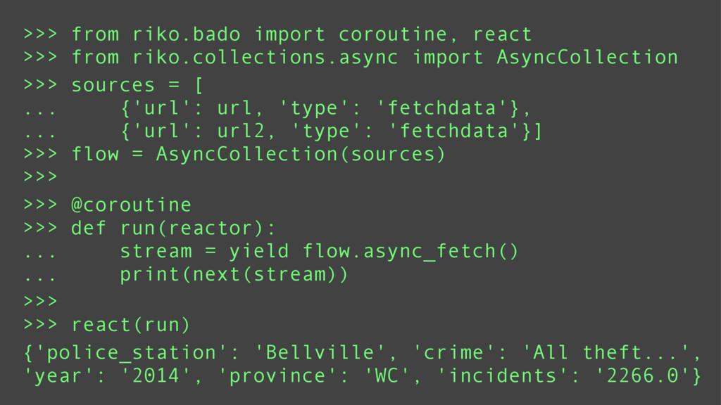 >>> from riko.bado import coroutine, react >>> ...