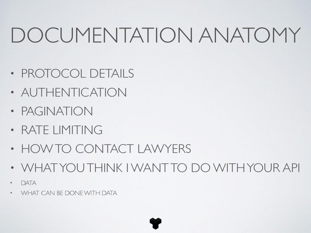 DOCUMENTATION ANATOMY • PROTOCOL DETAILS • AUTH...
