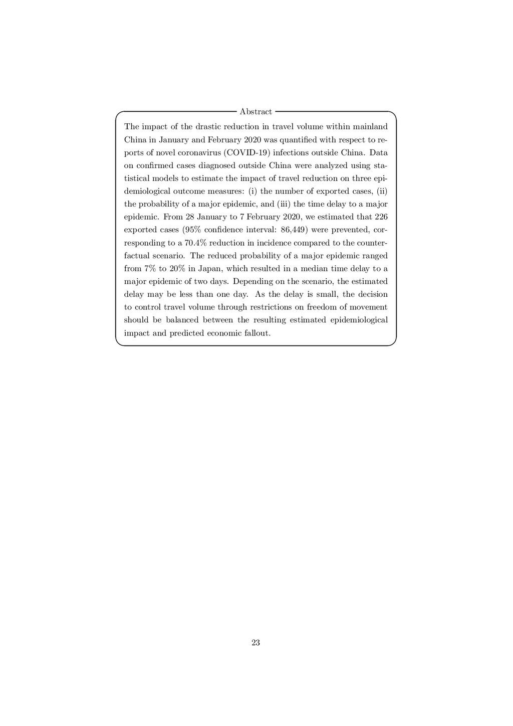 Abstract   The impact of the drastic reductio...