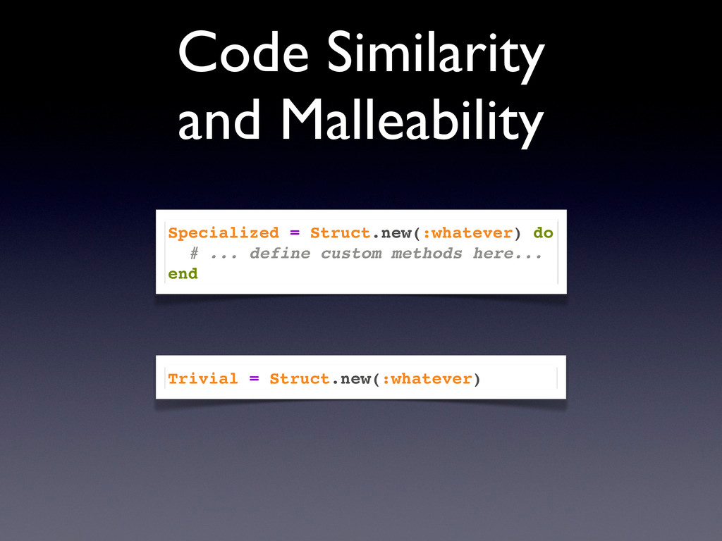 Code Similarity and Malleability Specialized = ...
