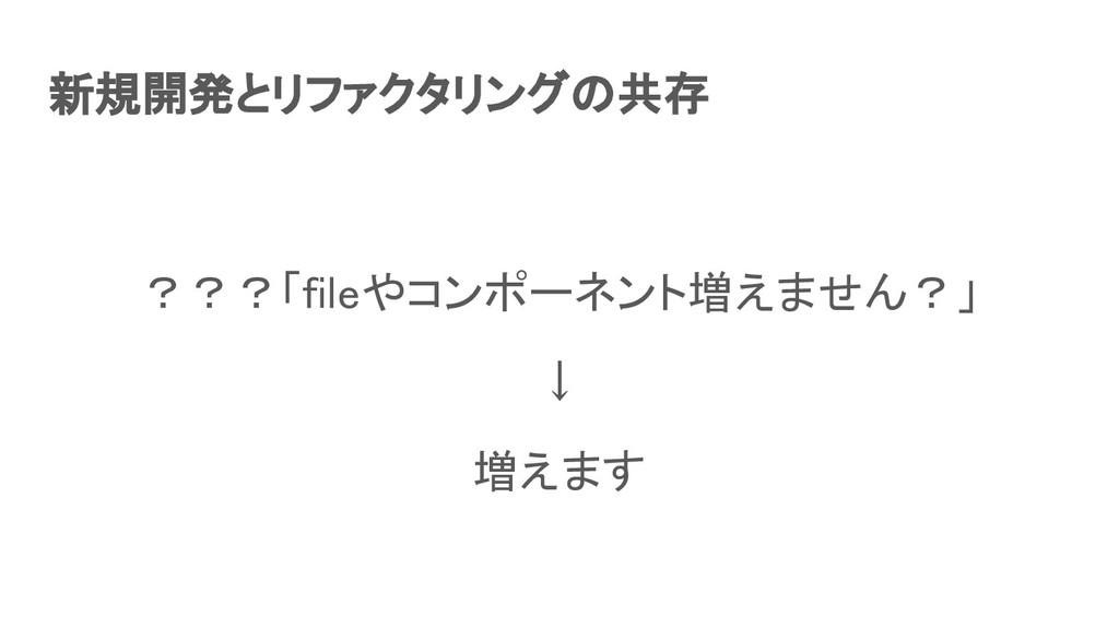 新規開発とリファクタリングの共存 ???「fileやコンポーネント増えません?」 ↓ 増...