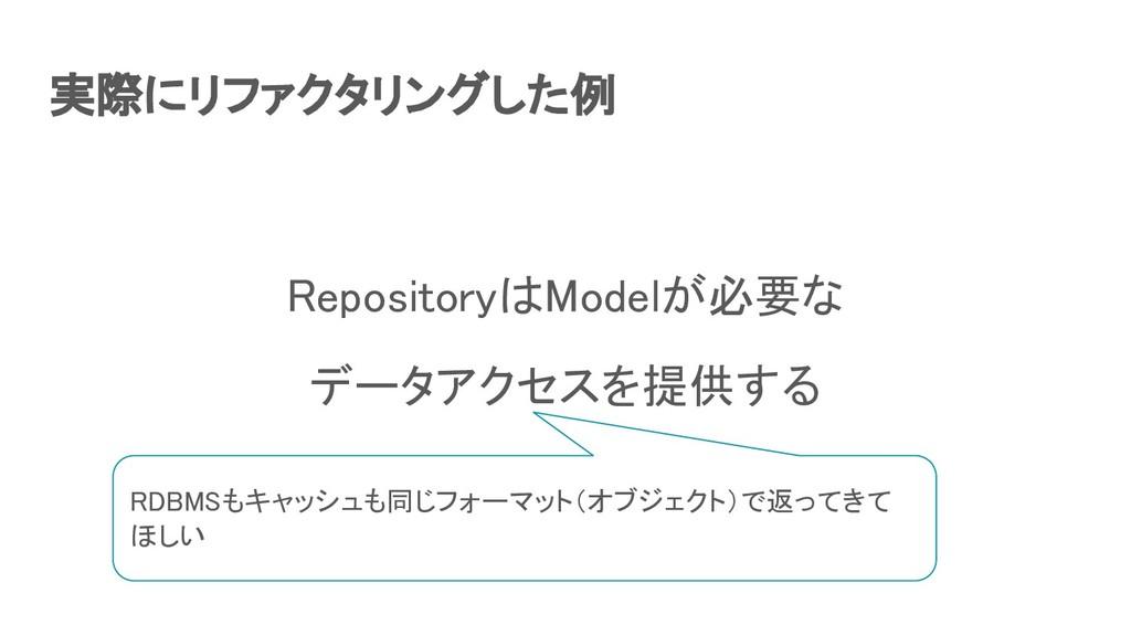 実際にリファクタリングした例 RepositoryはModelが必要な データアクセスを提...