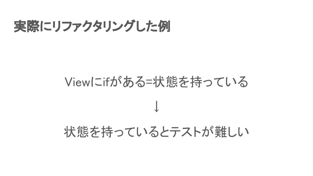 実際にリファクタリングした例 Viewにifがある=状態を持っている ↓ 状態を持ってい...