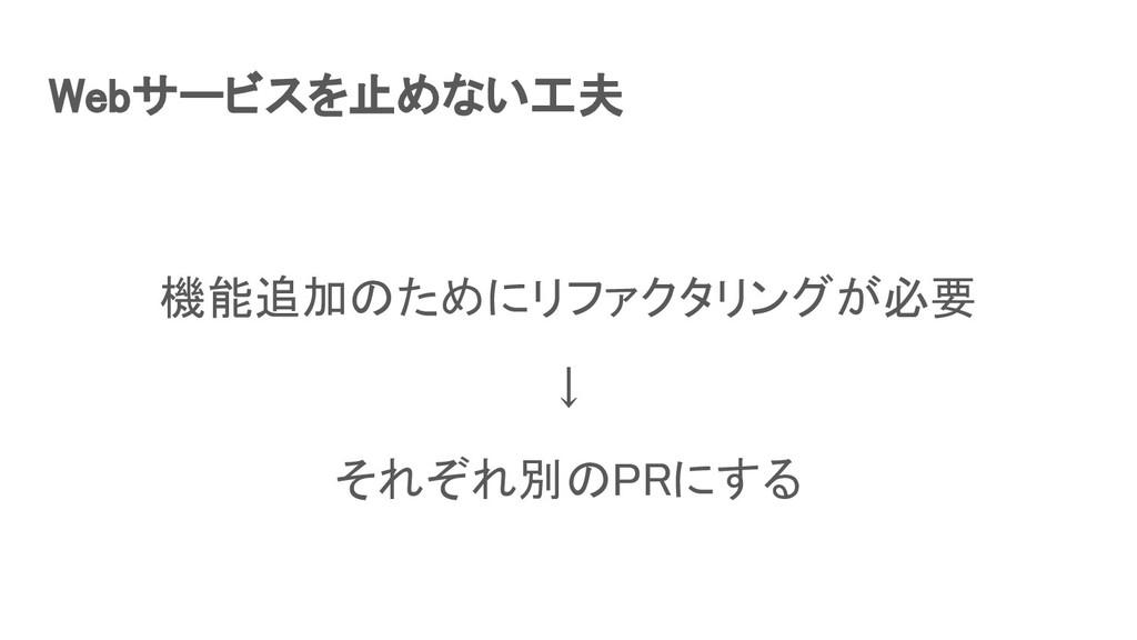Webサービスを止めない工夫 機能追加のためにリファクタリングが必要 ↓ それぞれ別のP...