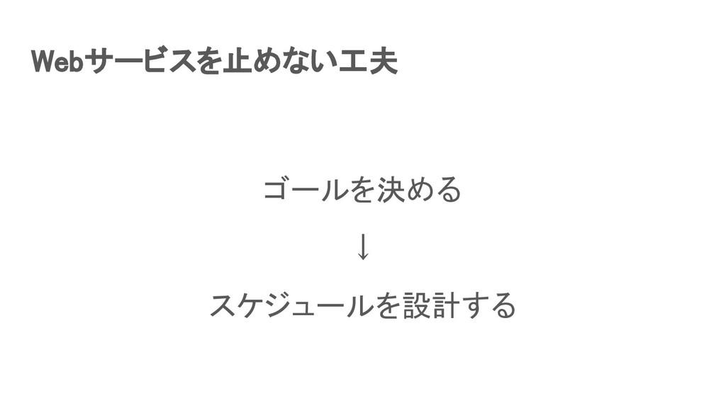 Webサービスを止めない工夫 ゴールを決める ↓ スケジュールを設計する