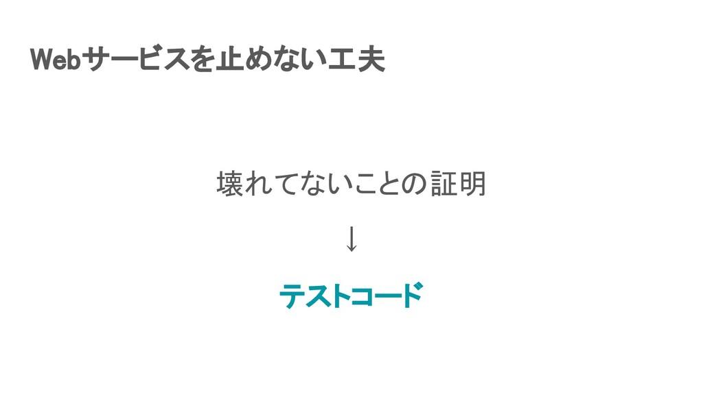 Webサービスを止めない工夫 壊れてないことの証明 ↓ テストコード