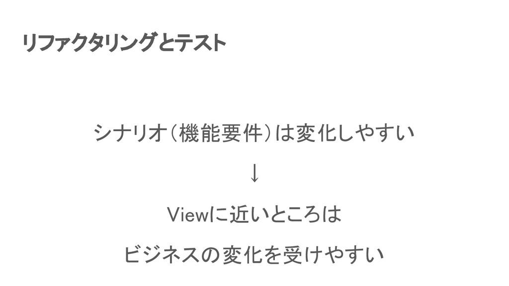 リファクタリングとテスト シナリオ(機能要件)は変化しやすい ↓ Viewに近いところは...